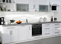 Кухонный фартук Белый шелк Линии виниловый самоклеющийся (ПВХ наклейка пленка скинали для кухни) 600*2500 мм