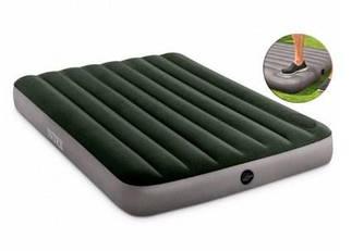 Полуторный надувной матрас INTEX 137x191x25 см со встроенным ножным насосом, двухспальный матрас ИНТЕКС+нанос