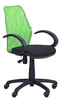 Зручне офісне комп'ютерне крісло на колесиках Oxi / АМФ-5 сидіння А-01 / спинка Сітка салатова