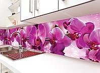 Кухонный фартук Пышные розовые Орхидеи виниловый (ПВХ наклейка пленка скинали для кухни) цветы 600*2500 мм