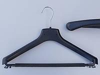 Длина 38 см. Плечики вешалки тремпеля Д-38/40П с поролоновой перекладиной черного цвета