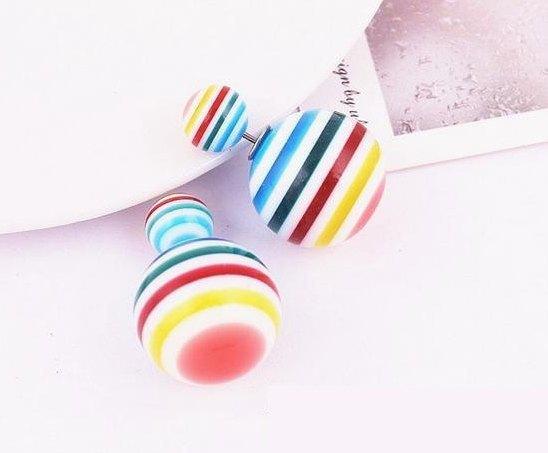 Серьги шарики диор Цветные полоски