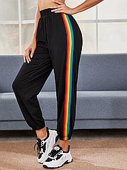 Спортивні жіночі штани з райдужної тасьмою