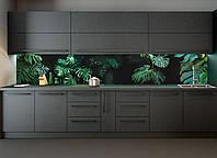 Кухонный фартук виниловый Листья Монстеры (ПВХнаклейка пленка скинали для кухни) пальмы зеленый 600*2500 мм