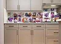 Кухонный фартук Лаванда Мозаика виниловый (ПВХ наклейка пленка скинали для кухни) фиолетовый 600*2500 мм