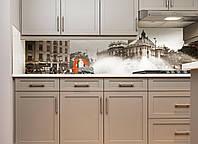 Кухонный фартук Ретро фото города, Наклейка на кухонный фартук скинали декор Архитектура, серый, 600*3000 мм