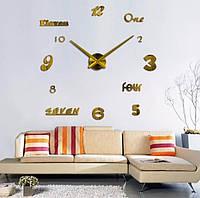 Бескаркасные большие настенные часы-наклейки с 3Д эффектом, диаметр 70-150 см IdeaX 4207, золото