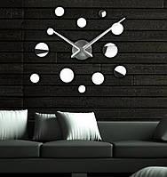 Бескаркасные большие настенные часы-наклейки с 3Д эффектом, диаметр 70-150 см IdeaX 4229, серебро