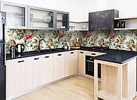 Кухонный фартук Тропический букет цветы виниловый (ПВХ наклейка пленка скинали для кухни) зеленый 600*2500 мм