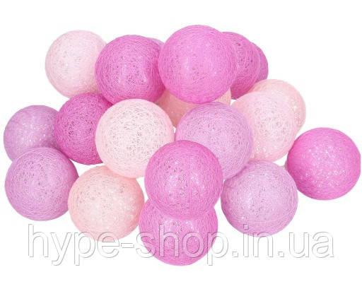 Гірлянда тайська декоративна LTL VIOLET Cotton Balls 20led, діам 6см, довжина 330см на батарейках АА