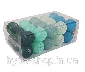 Гірлянда Тайські Кульки LTL Mint Cotton Balls 30led, діам 6см, довжина 540см на батарейках АА