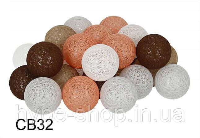 Гірлянда Тайські Кульки LTL Licon Cotton Balls 30led, діам 6см, довжина 540см на батарейках АА