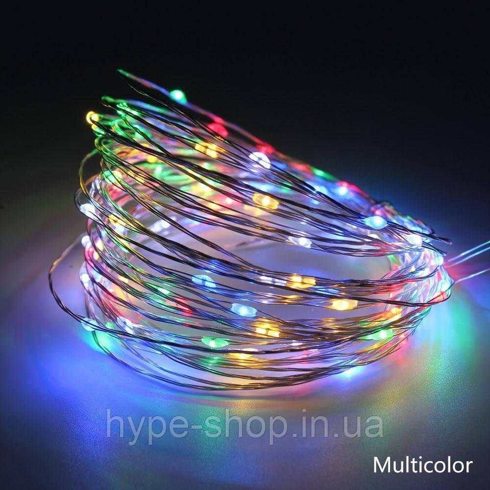 Светодиодная гирлянда нить LTL длина 10м 100led на батарейках разноцветная RGB