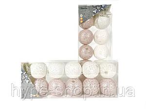 Гірлянда тайські кульки Decorino Miro Cotton Balls 10led, діам 6см, довжина 235см на батарейках АА