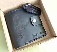 Кожаный кошелек ручной работы из знаком Зодиака . Мужской кожаный кошелёк . Подарок с именной гравировкой.
