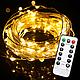 Светодиодная гирлянда LTL нить капля росы 100 led, 10 метров c пультом желтая Yellow, батарейки, фото 3