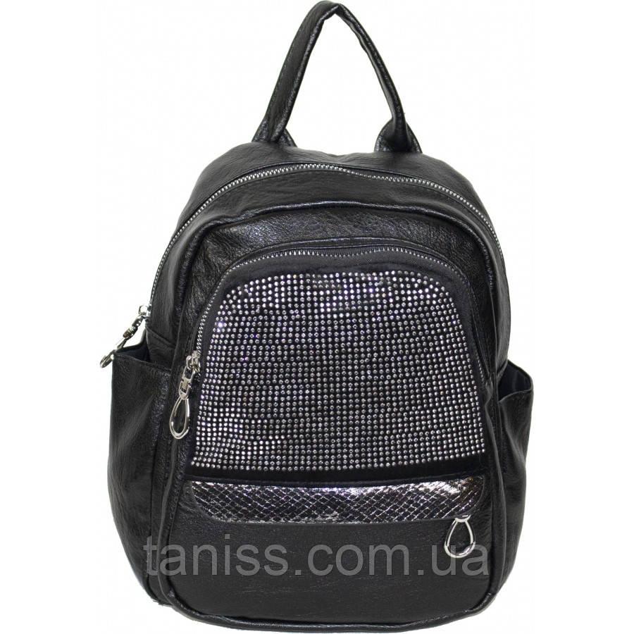 Оригинальная небольшой  рюкзак., материал - экокожа.  две длинные ручки,  (389-5) черный