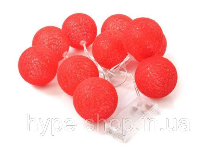 Гирлянды Cotton Balls Red Тайские Шарики 10led, диам 6см, длина 180см на батарейках АА