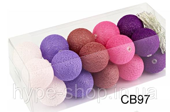 Гирлянда тайская декоративная LTL CASHMIRE Cotton Balls 20led, диам 6см, длина 330см на батарейках АА