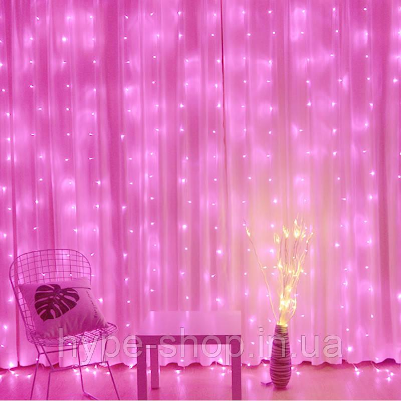 Светодиодная гирлянда LTL штора curtain капля росы 3*3 метра 300 led c пультом розовая Pink