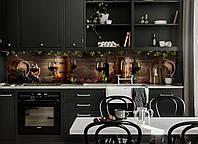 Кухонный фартук виниловый Виноград и Винные бочки (ПВХ пленка скинали для кухни) коричневый вино 600*2500 мм
