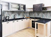 Кухонный фартук виниловый Пышные перья (ПВХ наклейка пленка скинали для кухни) перо птица серый 600*2500 мм