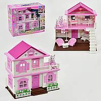 """Домик для девочек """"Счастливая семья"""", подсветка, с мебелью, в коробке 1 фигурка и предметы интерьера."""