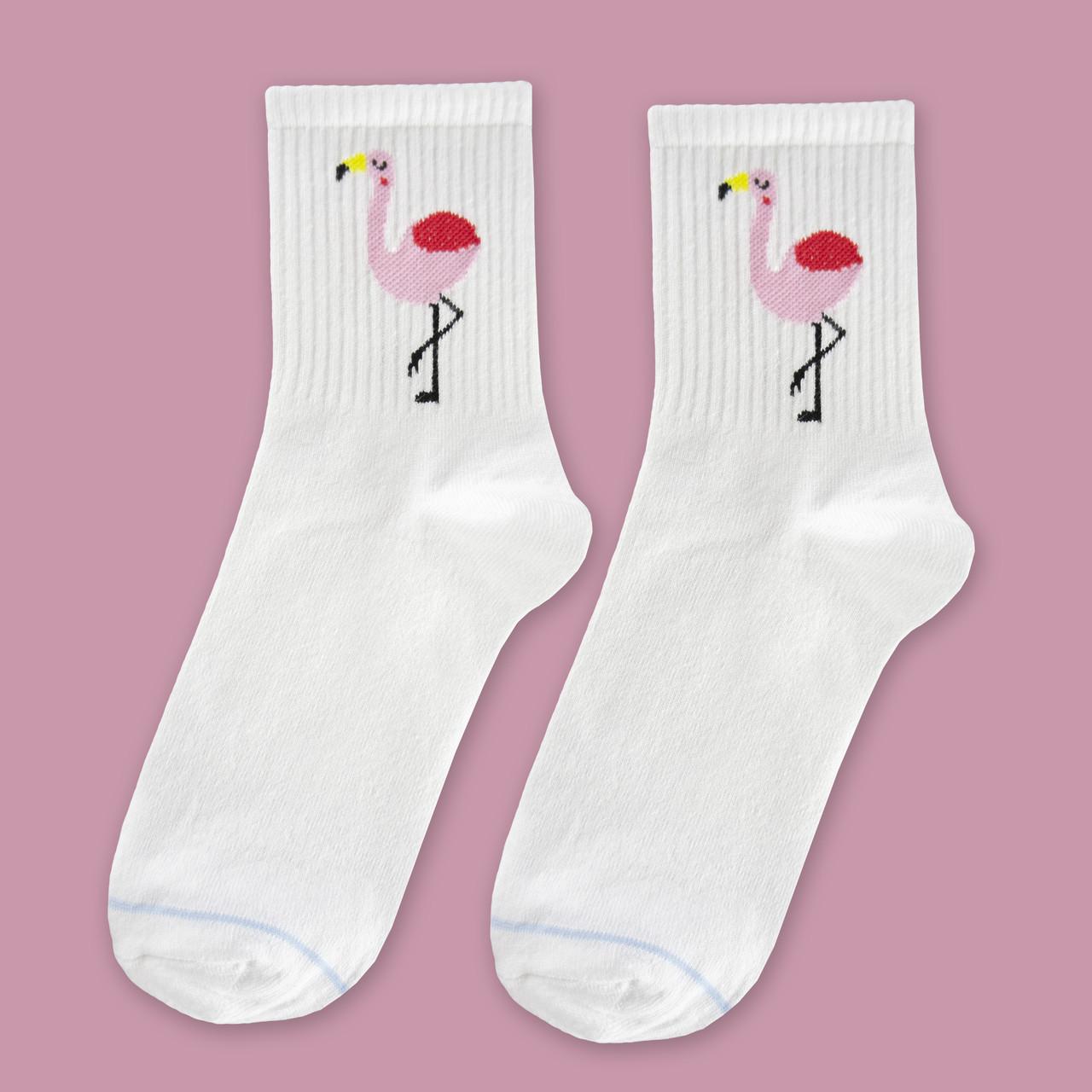 "Носки белые с принтом ""Фламинго"""