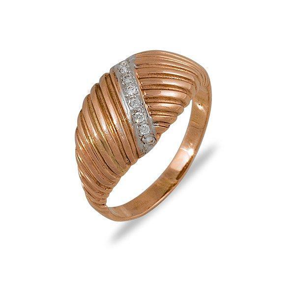 Золотое кольцо с куб. циркониями, размер 20 (007425)