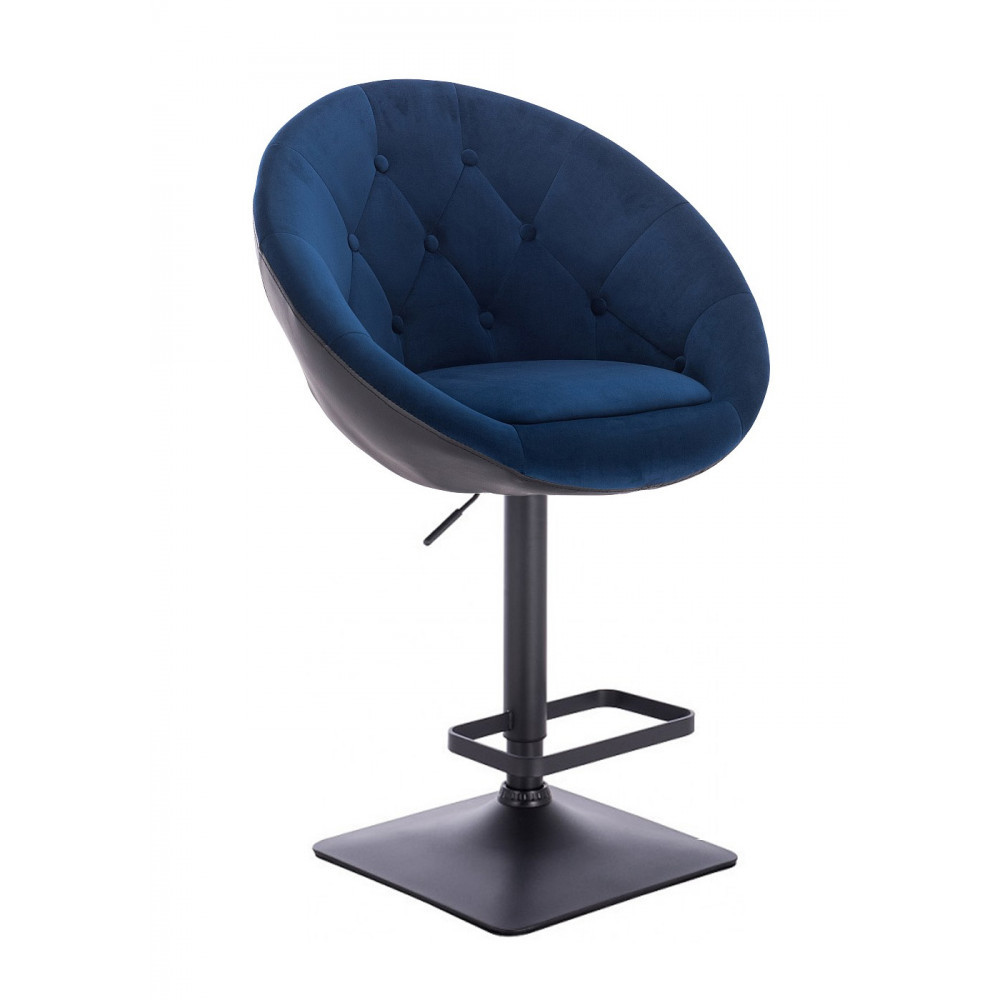 Стул барный хокер Hrove Form HR8516W велюр синий с черным черная основа
