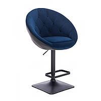 Стул барный хокер Hrove Form HR8516W велюр синий с черным черная основа, фото 1
