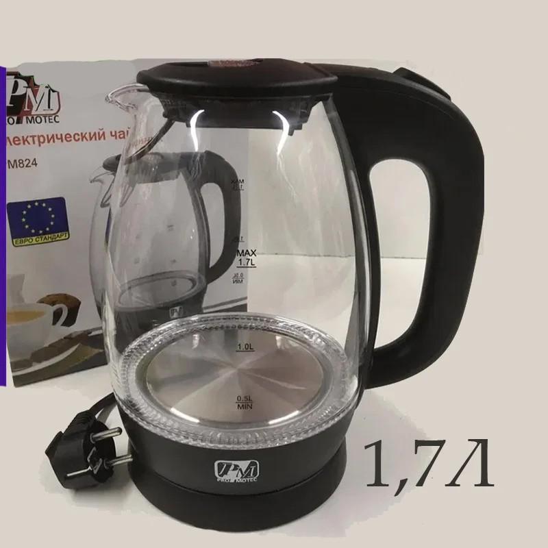Чайник стеклянный PROMOTEC PM-824 1.7л с LED-подсветкой