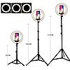 Светодиодная кольцевая Led лампа RING 26см на штативе 2м с держателем, для блогеров, селфи, фотографов, фото 4