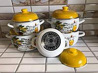 Набор эмалированной посуды с крышками из 10 предметов. Эмалированные кастрюли Edenberg EB-1874NW