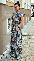 Длинное летнее платье в пол, длинный летний сарафан свободного кроя с поясом .