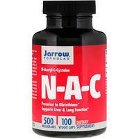NAC N-ацетил-L-цистеин, N-A-C Jarrow Formulas, 500 мг, 100 вегетерианских капсул, фото 1