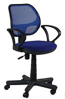 Зручне офісне комп'ютерне крісло на колесиках Чат / АМФ-4 Сітка синя