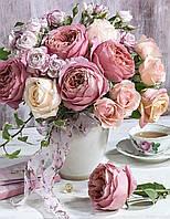 """Алмазная мозайка. Набор алмазной вышивки """"Букет роз и пионов в вазе"""". Размер 40*50 см."""