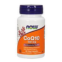 Now Foods, Коэнзим Q10, 100 мг, с боярышником, 30 вегетарианских капсул