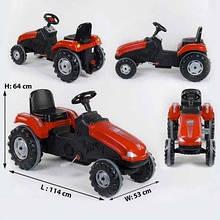 Трактор педальный красный,с клаксоном на руле,сидение регулируемое,колеса с резиновыми накладками SKL11-186635