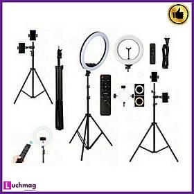 Кольцевая лед лапма для блогеров, визажистов LED-светильник 32см с дистанционный пультом + Штатив-стойка 210см