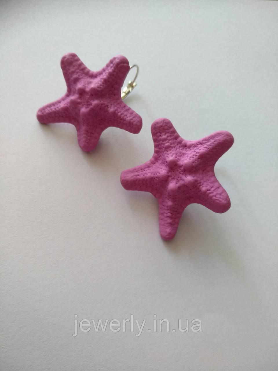 Рожеві сережки зірки з полімерної глини