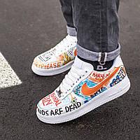 Кроссовки мужские белые с цветными вставками Nike Air Force 1 Custom. Модные кроссы Найк Аир Форс 1 Костюм