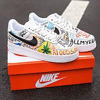 Кроссовки разноцветные белые Nike Air Force 1 Custom. Стильные мужские кроссы Найк Аир Форс 1 Костюм