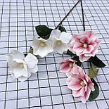 Искусственная ветка магнолии Бело-розовая 95 см  латекс, фото 2