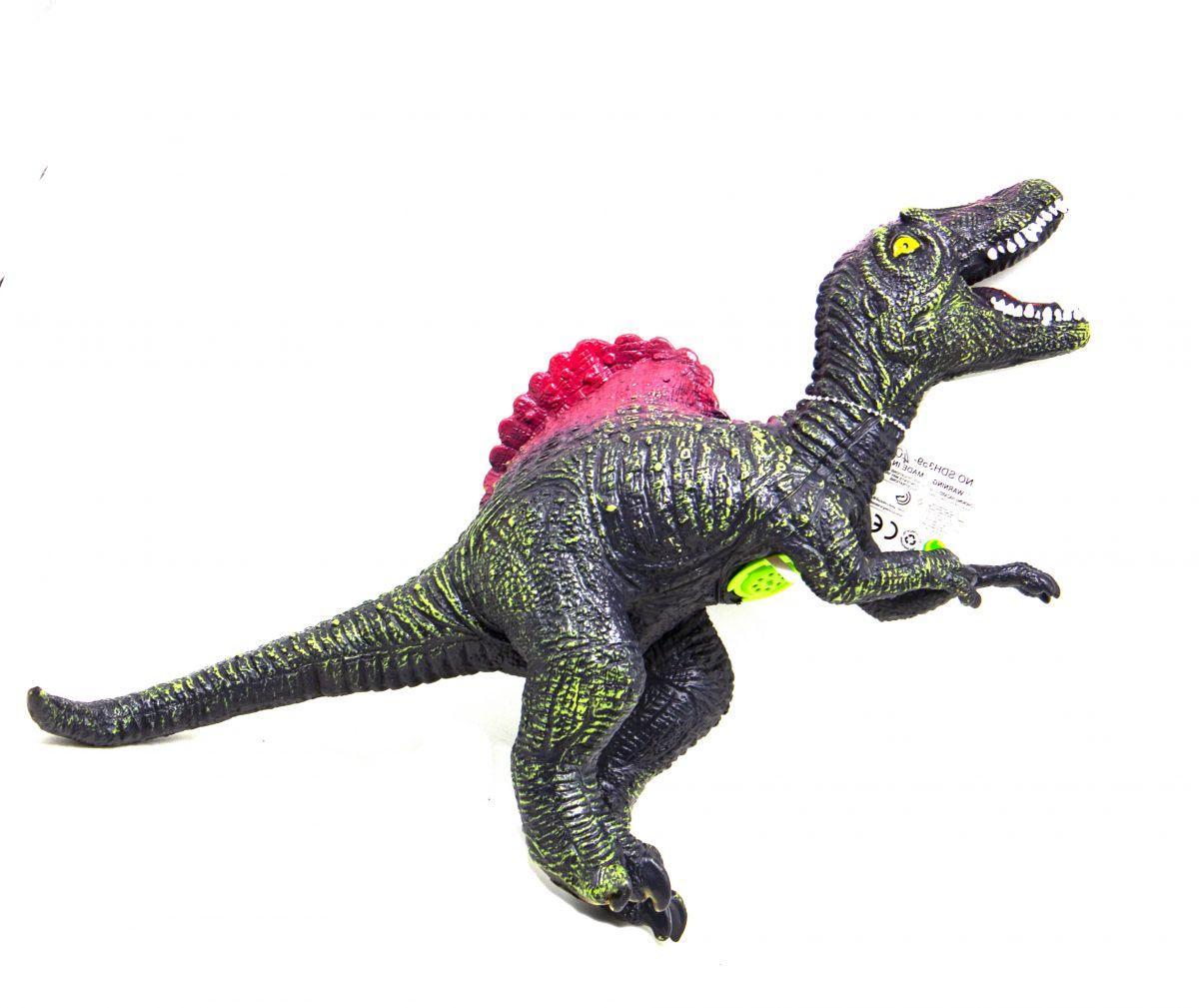 Динозавр резиновый Спинозавр со звуком зеленый