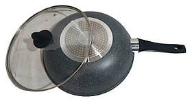Сковорода WOK с крышкой 30 см антипригарное мраморное покрытие, фото 2