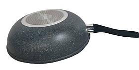 Сковорода WOK с крышкой 30 см антипригарное мраморное покрытие, фото 3