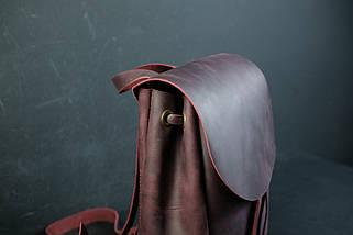Кожаный рюкзак на затяжках с свободным клапаном Винтажная кожа цвет Бордо, фото 2