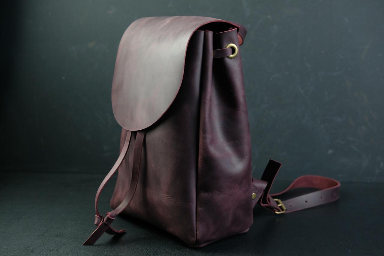 Кожаный рюкзак на затяжках с свободным клапаном Винтажная кожа цвет Бордо